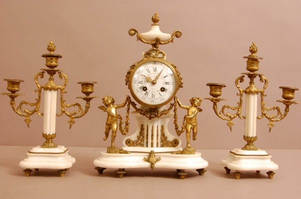 18: French Bronze and Marble 3 Piece Clock Set with Sta
