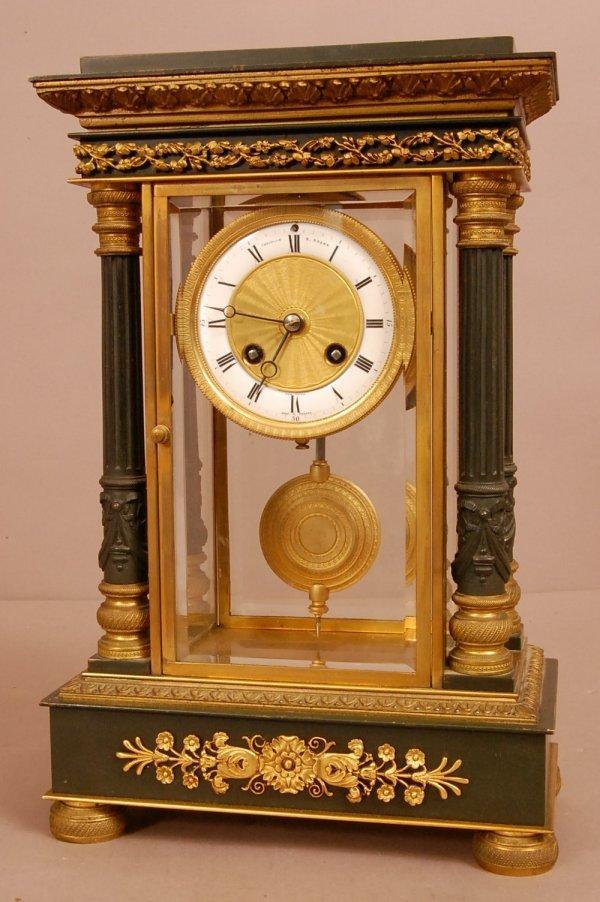 19: French 4 Column Bronze Shelf Clock, Porcelain & Bro