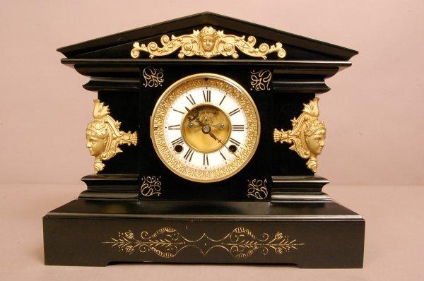 20: Aesthetic Movement Ebonized Mantel Clock.  Iron Cas