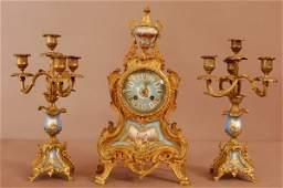186 French Dore Bronze Louis XVI Serves 3 Piece Clock