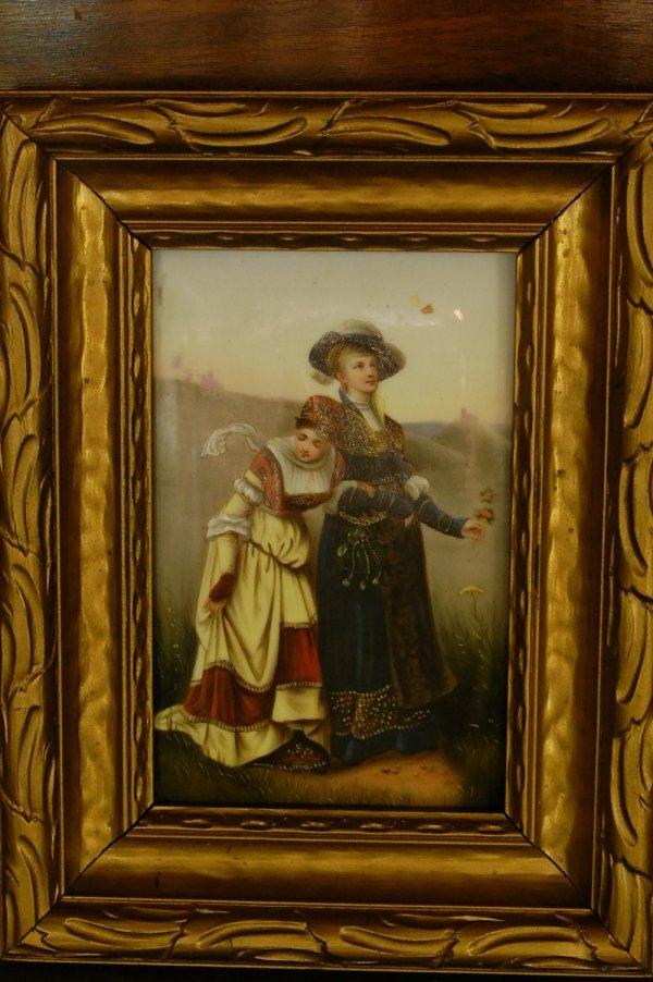 """350: Victorian Oil on Porcelain, Original frame  6""""t x"""