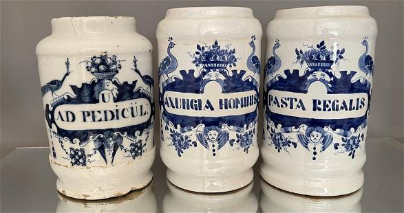 Three Blue & White Dutch Delft Apothecary Jars