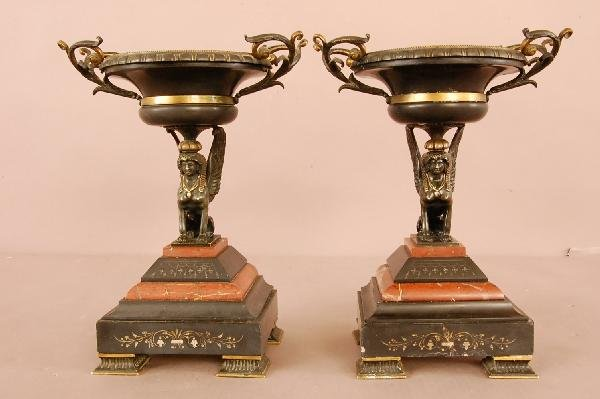 1: Pair of Bronze & Marble Compotes
