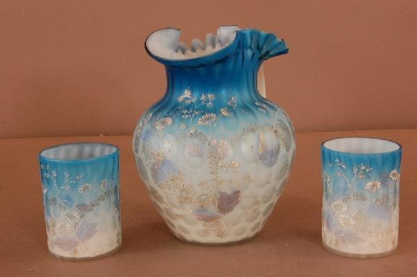 10: Blue Enameled 3 Piece Water Set