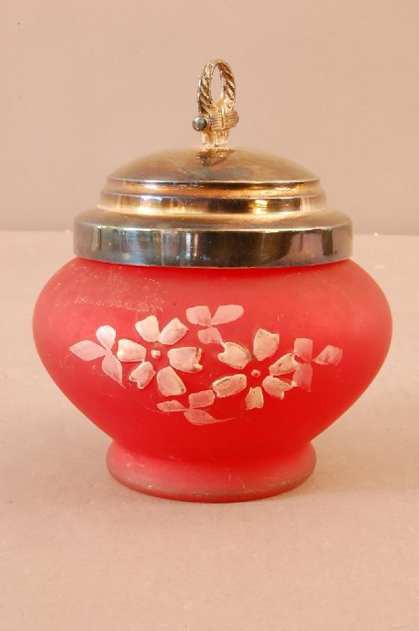 12: Red Satin Glass Sugar Bowl