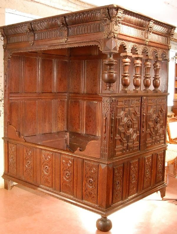 162: Rare Oak Canopy Bed
