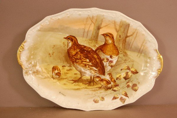 1: Limoges Oval Serving Tray.  Hand Painted Birds & Chi