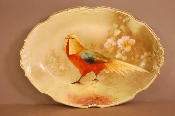 2: Limoges Oval Serving Tray Hand Painted Bird  Signed
