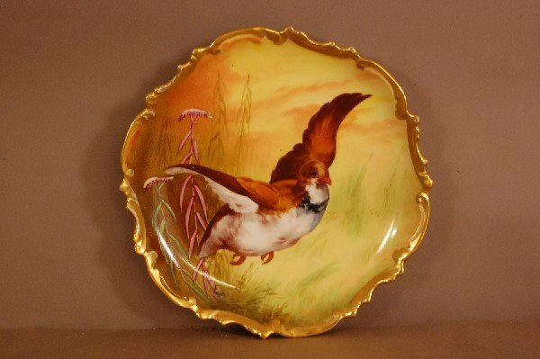 "4: Limoges Bird Plate10"" wide Artist Signed Fredo  Ca."