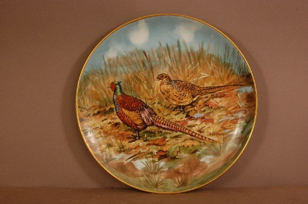 "5: Hand Painted Bird Plate 10"" W. signed Cooke 1967"