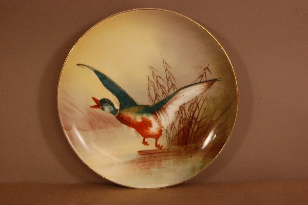 "6: Limoges Bird Plate Hand Painted 9 1/2"" w. signed Bre"