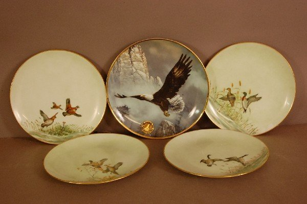 7: 5 Bird Plates Hand Decorated 4-Cooke 67, 1 Eagle Ted