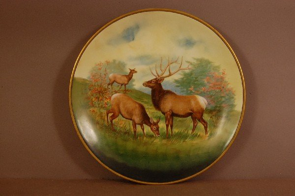 "8: Stag & Does, Hand Painted Plate 12 1/2"" w Ca. 1900"