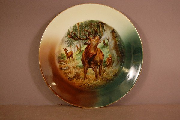 "9: Bavarian Bugleing Elk Hand Decorated Plate 10"" w Ca."