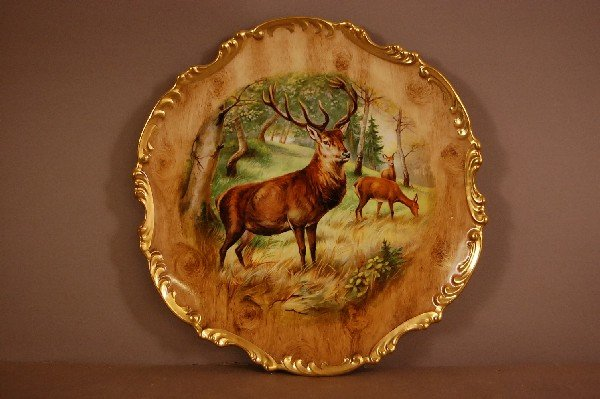 "10: Royal Munich Stag Plate Hand Decorated 10"" w Ca. 19"