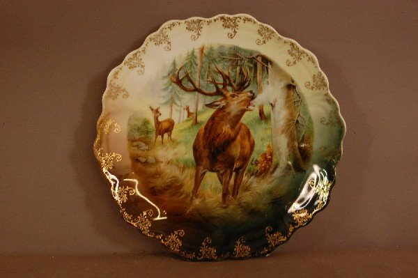 "11: Bavarian Bugling Elk Hand Decorated Plate 9 1/2"" w"