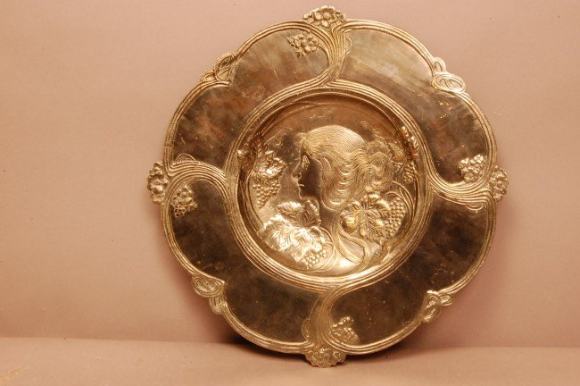 5C: Art Noveau Silver Plate Plaque  Ca. 1910