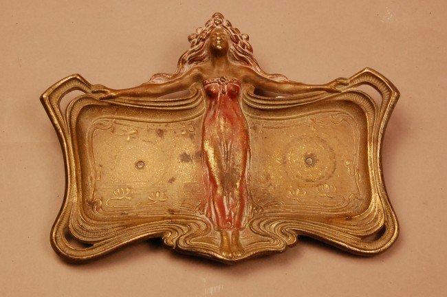 "6: Art Noveau Bronze Cart Tray with Standing women.  1"""