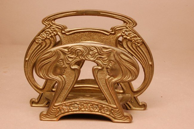 13: Art Noveau Bronze Letter Holder with faces on both