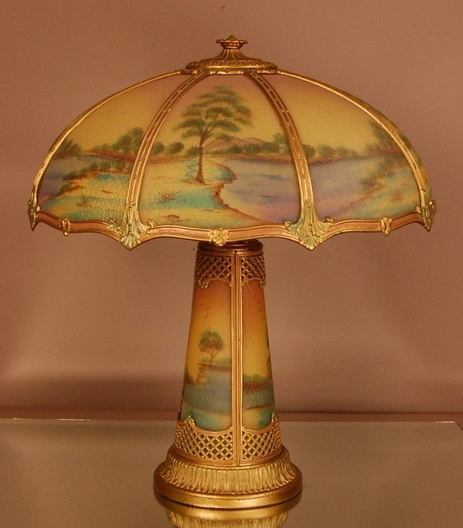 128: Pittsburg Scenic reversed paint parlor lamp.  8 pa