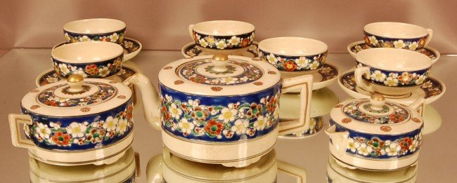 1: 9 Pc. Japanese Enameled Tea Set.  Raised Floral Deco