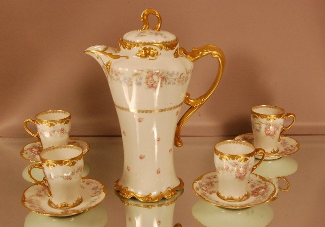 5: Limoges Chocolate Set.  Floral Decorated with gold t