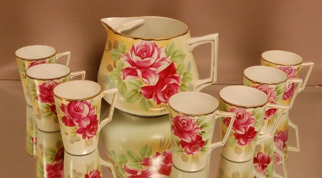7: Nippon Lemonade Set. Floral Rose pattern.  Hand Pain