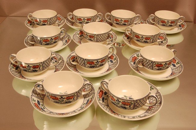 8: 12 Wedgewood Cups & Saucers in Cheadle pattern.  Sig
