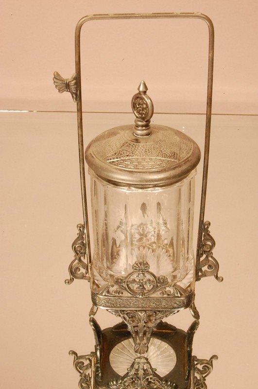 12: Victorian Pickle Caster with etched glass insert.