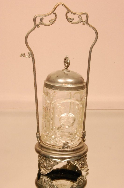 13: Victorian Pickle Caster with pressed glass insert.