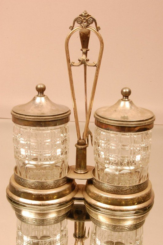 14: Double Victorian Pickle Caster with pressed glass i