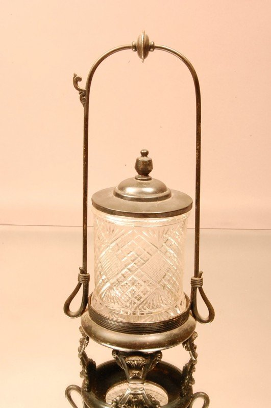19: Victorian Pickle Caster with pressed glass insert .