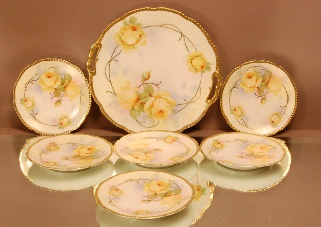 24: 7 pc. Royal Rudolstadt Dessert set. Cake Plate & 6