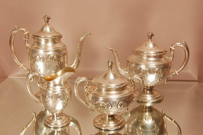 171: Sterling silver Towle 4 piece tea set.  Coffee pot