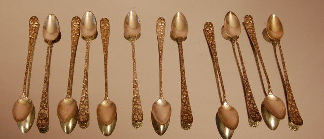 172: 12 Sterling Silver tea spoons.  App. Weight 17 tro