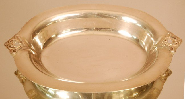 1: Art Noveau Style Sterling Silver Oval Serving Bowl.
