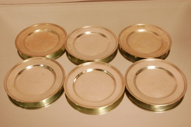 "4: 6 Sterling Silver Serving Plates. 6"" Diameter Marked"