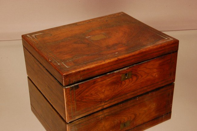 12: Early rosewood document Box.  Some losses.  10 1/2""