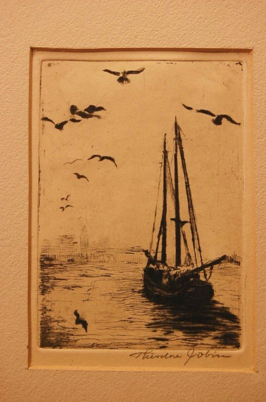 18: Sea Scape.  Engraving signed  By Theodore Jobin, Am