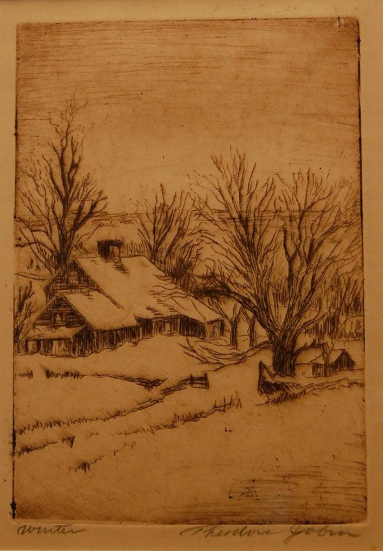 "19: ""Winter""  Engraving signed  By Theodore Jobin, Amer"