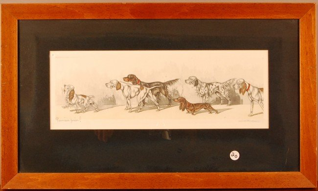 "20: ""Premier Prise""  Hand colored gravure Framed French"