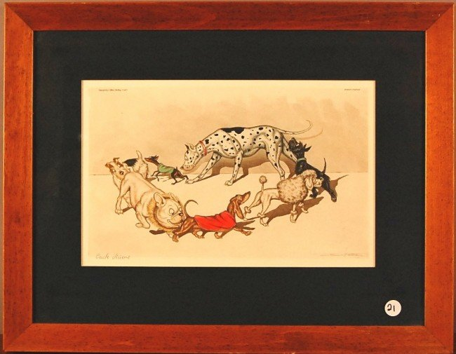 "21: ""Circle Viciene""  Hand colored gravure Framed Frenc"