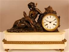 56 French Louis XVI Bronze Figural Clock of reclining