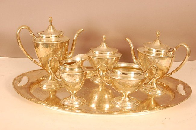 101: 6 Pc. Sterling Silver Tea Set.  Coffee Pot, Tea Po