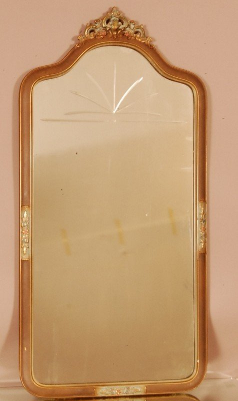 119: French style 1920's Mirror.  Etched Mirror, carved