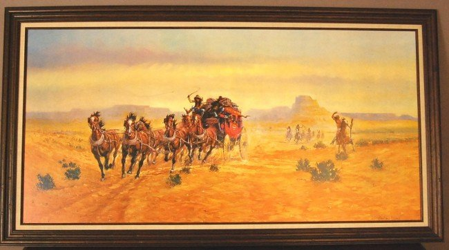 """202: Wells Fargo Bank Print by Harland Young  24"""" x 48"""""""