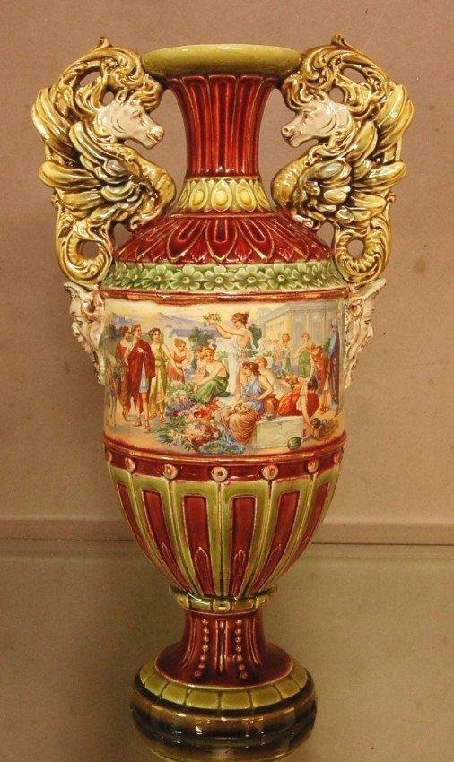 3: German Porcelain 2 Handled Vase with Roman scenic p