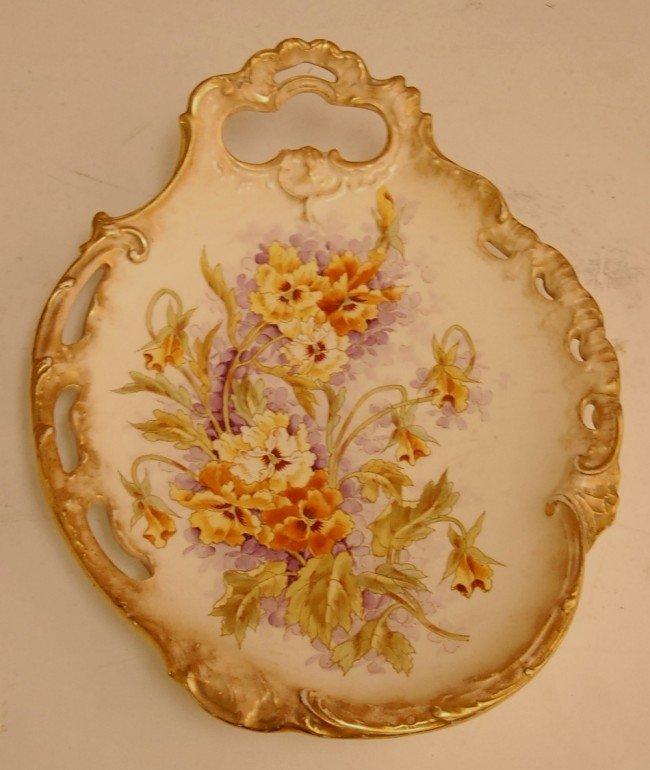 """6: Royal Bonn Porcelain Floral Decorated Plaque  9 1/2"""""""