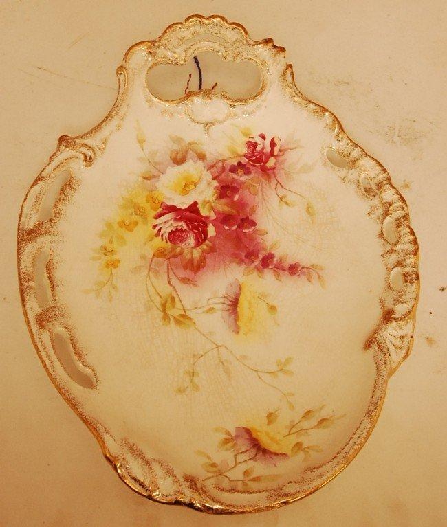 """9: Royal Bonn Porcelain Plaque Floral Decorated 12""""l x"""