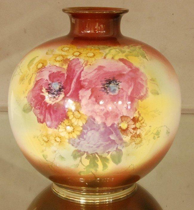 10: Royal Bonn Porcelain Floral Decorated Vase.  Hand P